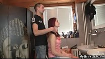 She allows his bro's drills her shaved hole