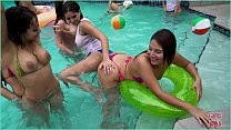 GIRLS GONE WILD - Young Latin Lesbians Have A Pool Party, Then Eat Pussy Thumbnail
