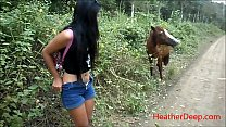 HD peeing next to horse in jungle thumbnail