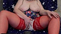 6064 Fat milf in stockings in front of the webcam shakes big tits and masturbates her hairy pussy to orgasm. preview