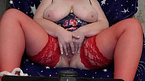 6207 Fat milf in stockings in front of the webcam shakes big tits and masturbates her hairy pussy to orgasm. preview