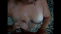 Wife Sucking Cock Outside  Gets Load on tits!