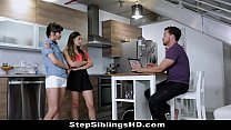 Bro Fucks Stunning Sisters In Shocking Stepsibling Sex Triangle thumbnail