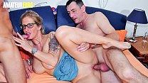 AMATEUR EURO - Big Tits German Amateur Ziska Takes Two Cocks In MMF Fuck Fest