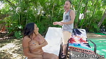 Busty Julianna Vega twerks while penetrated outdoors