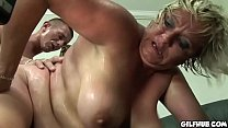 Fat GILF gets her hairy pussy fucked by horny dude's Thumb