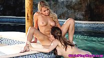 Young lesbian models get naughty in pool thumbnail