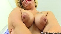 English milf Filthy Emma spreads her legs and flicks her bean