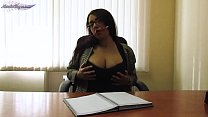 Secretary in Stockings Sensual Fingering Pussy after Work - Amateur