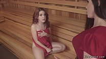 Busty lesbian fucks and whips redhead