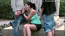 Daring PUBLIC sex threesome by a famous statue in the middle of the city
