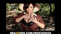 Stunning Asian brunette London Keyes teases her prisoner video