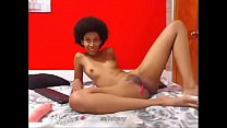 latin afro teen playing with lovelush on cam