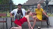 Brunette slave foot worship in public