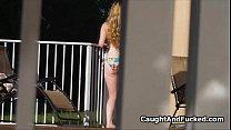 Sexy neighbor caught fingering pussy