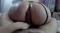 Assjob with the huge oiled ass of my step-siste...