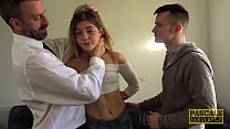 Skinny teen Rhiannon Ryder destroyed in DP threesome