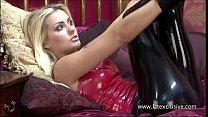 Sexy Natashas latex fetish and tight rubber posing of stunning blonde teasing