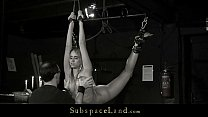 Slave mouth disciplined with cumshot after bondage sub sucking