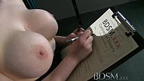 BDSM XXX Teen redhead slave girl is suspended after epic blow job as Master fingers her wet hole preview image