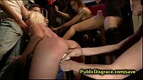 Two babes tied up and gangbang fucked