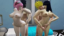 Hinata and Sakura Anal Fucked Together By Their Husbands Naruto Hentai Family Sex