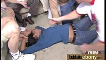 Ebony gets fucked in all holes by a group of white dudes 20