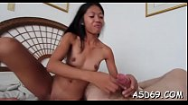 Thai girl engulfs a giant cock preview image