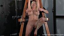 German rope slut Melanie Moons hogtied bondage and restrained busty submissive
