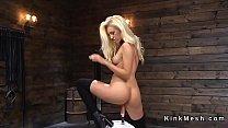 Blonde in black stockings fucks machine