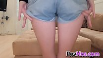 Pretty teen ho pov rides cock and gives blowjob