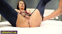 Bad Latin tranny Estela Duarte fucked in asshole after she swallowed dick