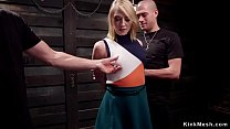 Masochistic blonde slave trained in dungeon