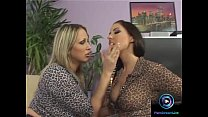 Lesbian lovers Mandy Bright and Maria Bellucci having fun with long dildos