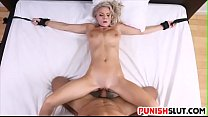 Blonde babe Molly Mae is tied up and filled up ...