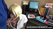 Ebony Pornstar Msnovember  At Work Riding Big Cock Blowjob & Sex صورة