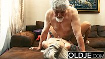 Old and y. Blonde Fucked by Old man tight pussy cock licking