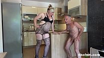 Pissed BBW and Daughter Ballbusting Old Perv صورة