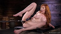 Huge tits redhead cums on fucking machine