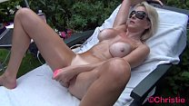Cougar Christie does outdoor oily cam show with dildo