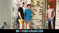 Hot brothers fuck their horny older neighbour in gay threesome BROTHER-CRUSH.COM