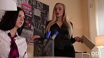 Dominant teacher Kayla Green bounds & spanks schoolgirl Rebecca Volpetti