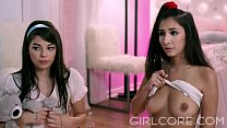 GIRLCORE Teen Lesbians Just Wanna Have a Fun Foursome! - VideoMakeLove.Com