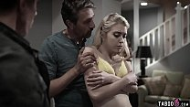 Teen double penetrated by her stepdad and her u...