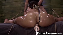 Facialized sub gets her holes stretched with toys and machine