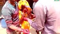 desi bhabhi boob press in holi thumbnail