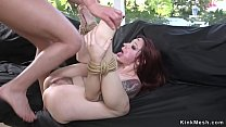 Crotch roped redhead ass whipped