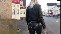 Woman Gets cumshot in leggings and walk in public