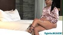 Masturbating ebony shemale jerking her dick