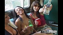 Four busty girls in amazing van orgy